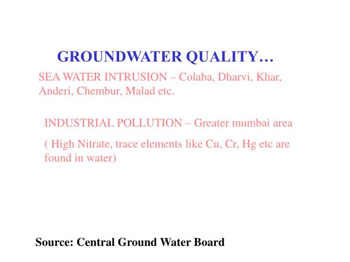GROUNDWATER QUALITY…