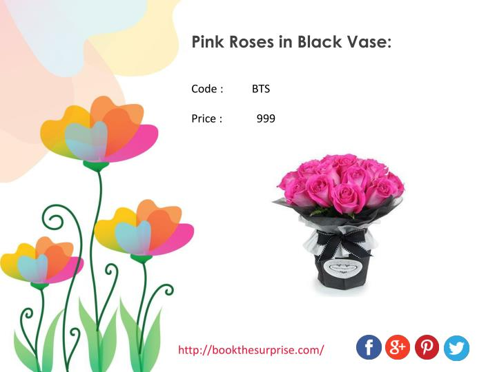 Pink Roses in Black