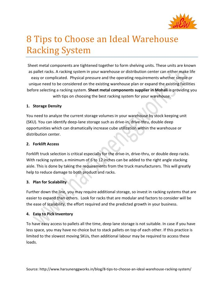 8 Tips to Choose an Ideal Warehouse