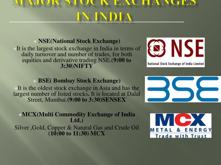 Major Stock exchanges In India