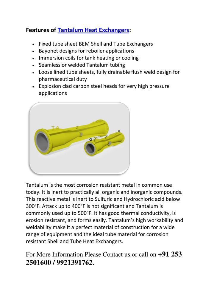 Features of Tantalum Heat Exchangers: