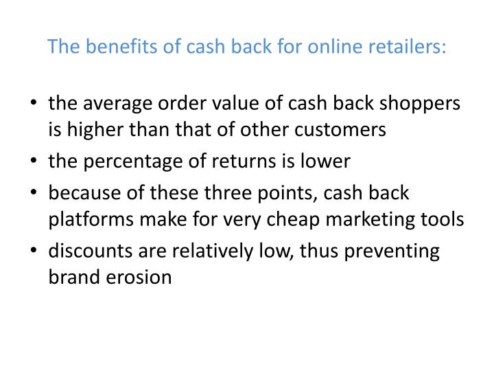 The benefits of cash back for online retailers: