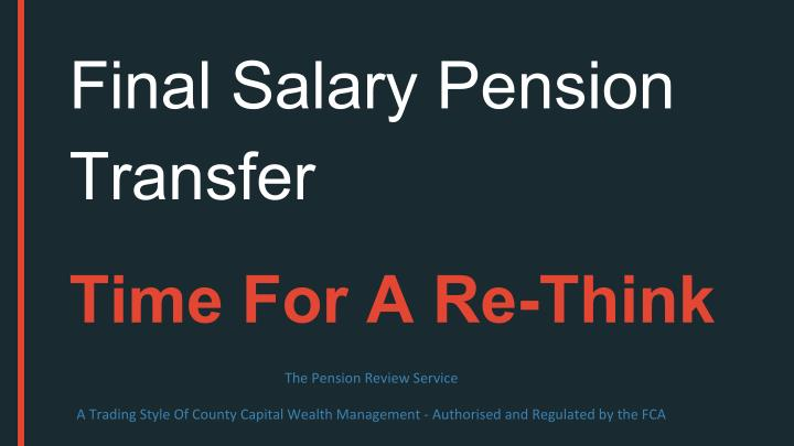 Final Salary Pension