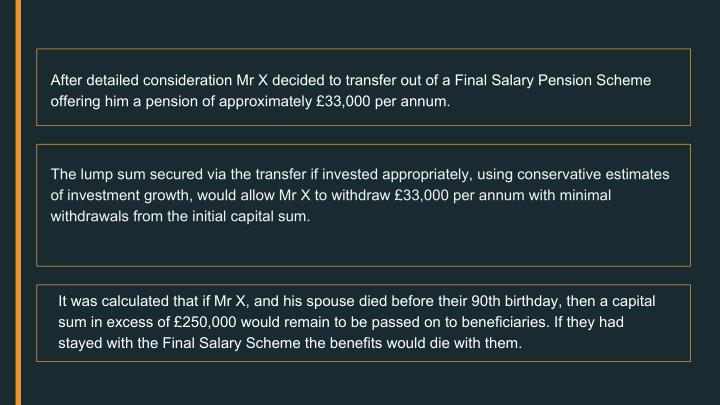 After detailed consideration Mr X decided to transfer out of a Final Salary Pension Scheme