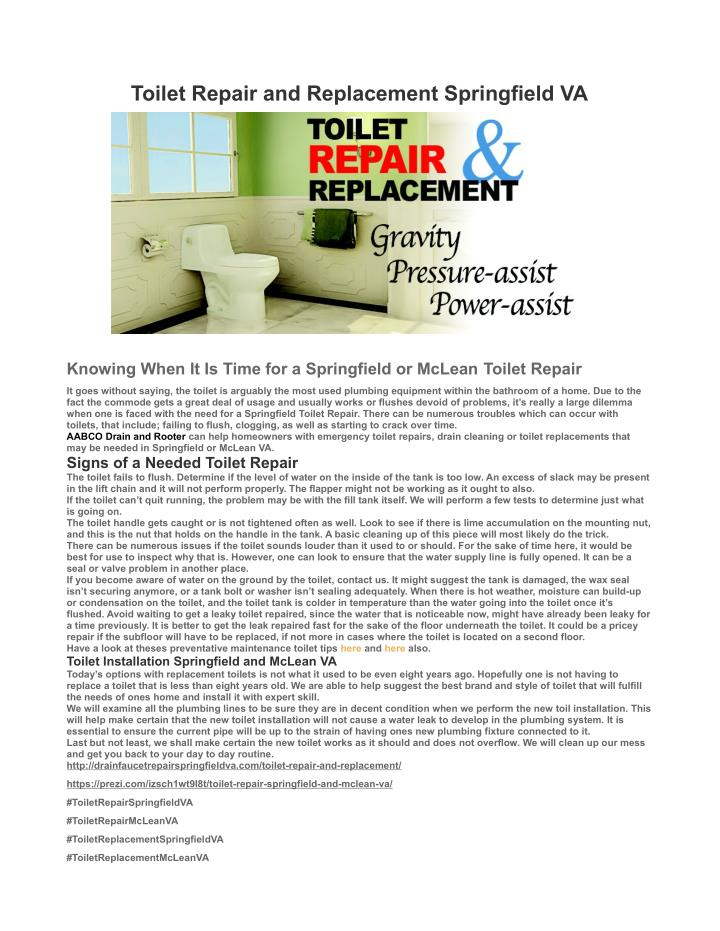 Toilet Repair and Replacement Springfield VA