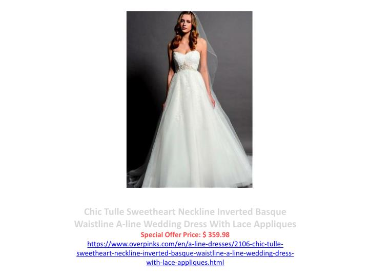Chic Tulle Sweetheart Neckline Inverted Basque Waistline A-line Wedding Dress With Lace Appliques