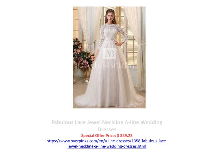 Fabulous Lace Jewel Neckline A-line Wedding Dresses