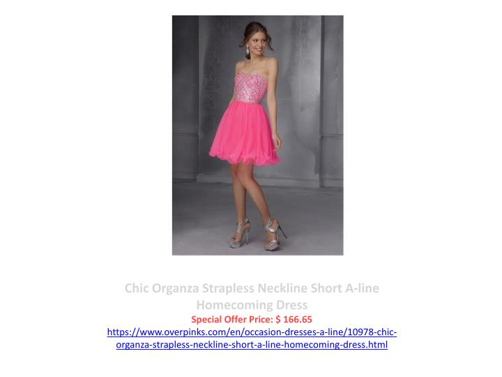 Chic Organza Strapless Neckline Short A-line Homecoming Dress