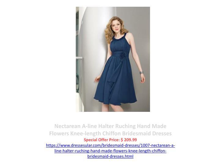 Nectarean A-line Halter Ruching Hand Made Flowers Knee-length Chiffon Bridesmaid Dresses