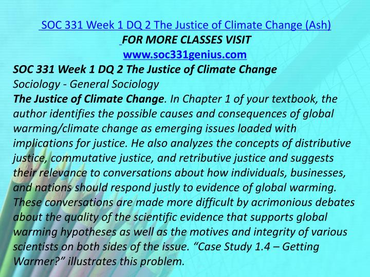 SOC 331 Week 1 DQ 2 The Justice of Climate Change (Ash)