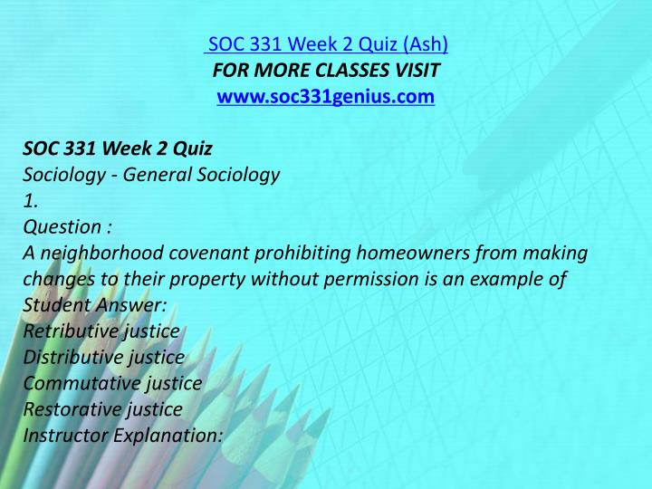 SOC 331 Week 2 Quiz (Ash)