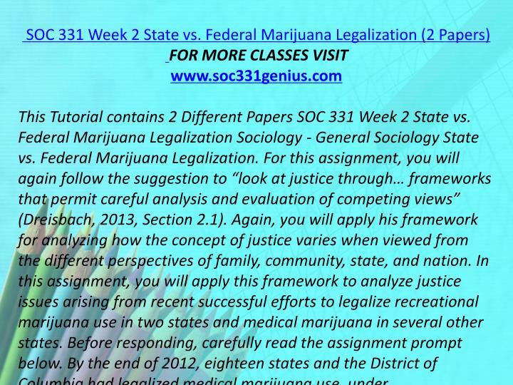 SOC 331 Week 2 State vs. Federal Marijuana Legalization (2 Papers)