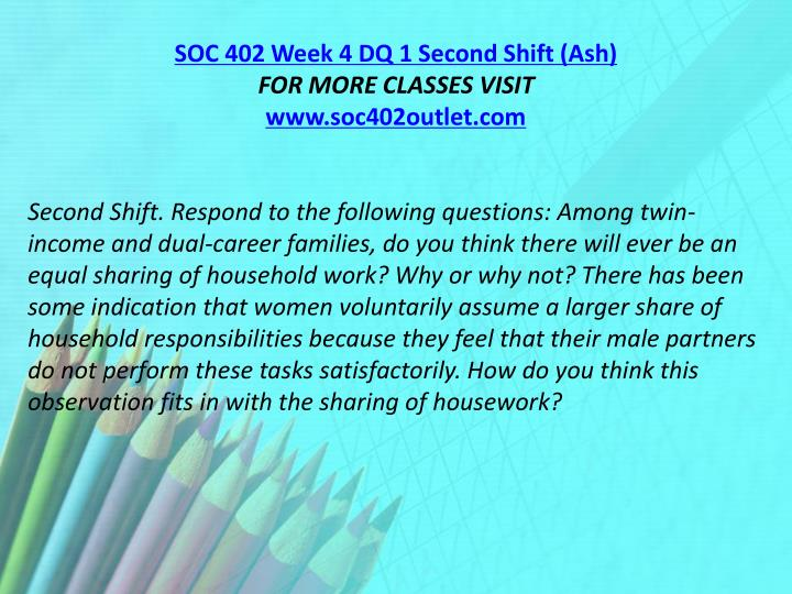 SOC 402 Week 4 DQ 1 Second Shift (Ash)