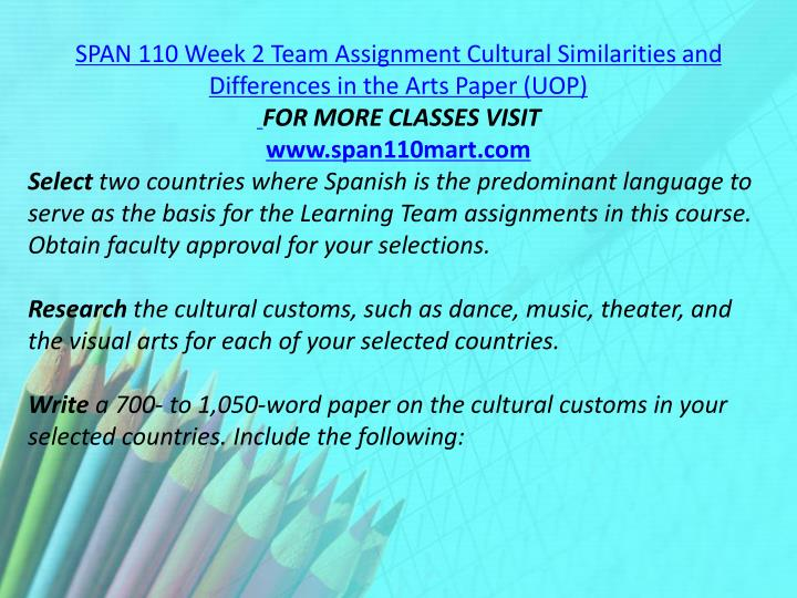 SPAN 110 Week 2 Team Assignment Cultural Similarities and Differences in the Arts Paper (UOP)