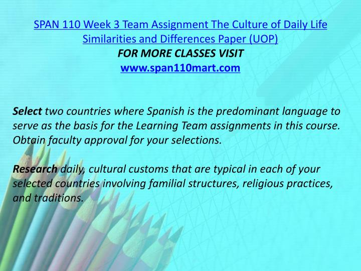SPAN 110 Week 3 Team Assignment The Culture of Daily Life Similarities and Differences Paper (UOP)