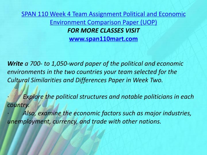 SPAN 110 Week 4 Team Assignment Political and Economic Environment Comparison Paper (UOP)