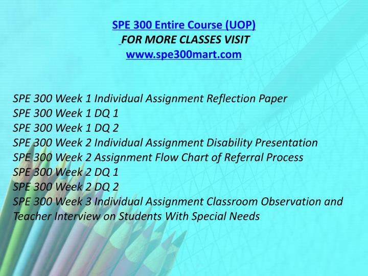 SPE 300 Entire Course (UOP)