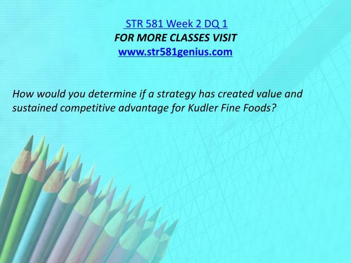 STR 581 Week 2 DQ 1