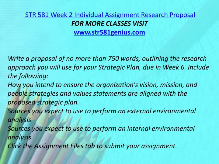 STR 581 Week 2 Individual Assignment Research Proposal