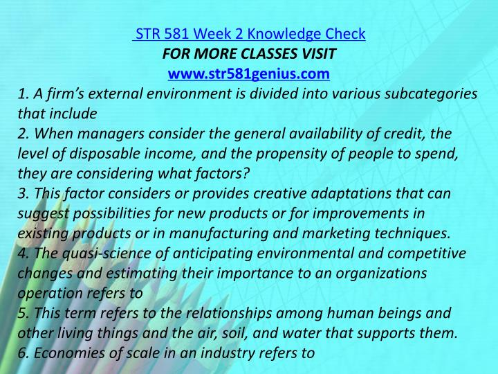 STR 581 Week 2 Knowledge Check