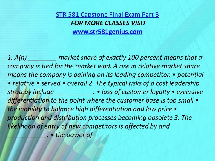 STR 581 Capstone Final Exam Part 3