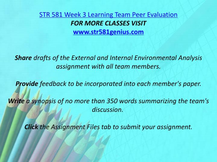 STR 581 Week 3 Learning Team Peer Evaluation