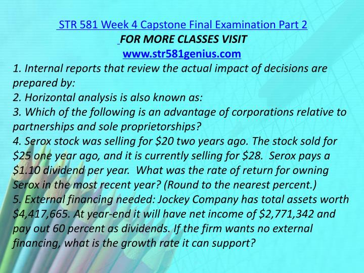 STR 581 Week 4 Capstone Final Examination Part 2