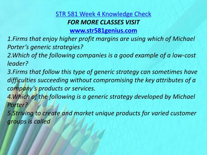 STR 581 Week 4 Knowledge Check