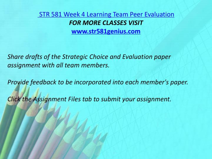 STR 581 Week 4 Learning Team Peer Evaluation