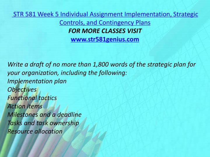 STR 581 Week 5 Individual Assignment Implementation, Strategic Controls, and Contingency Plans