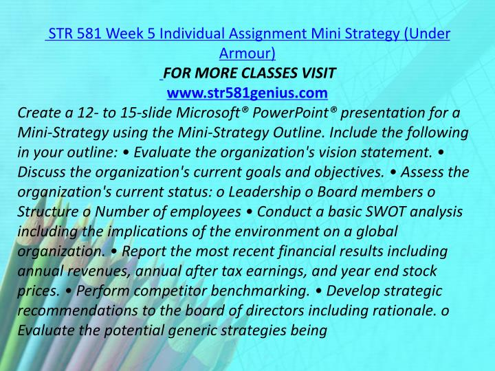 STR 581 Week 5 Individual Assignment Mini Strategy (Under Armour)