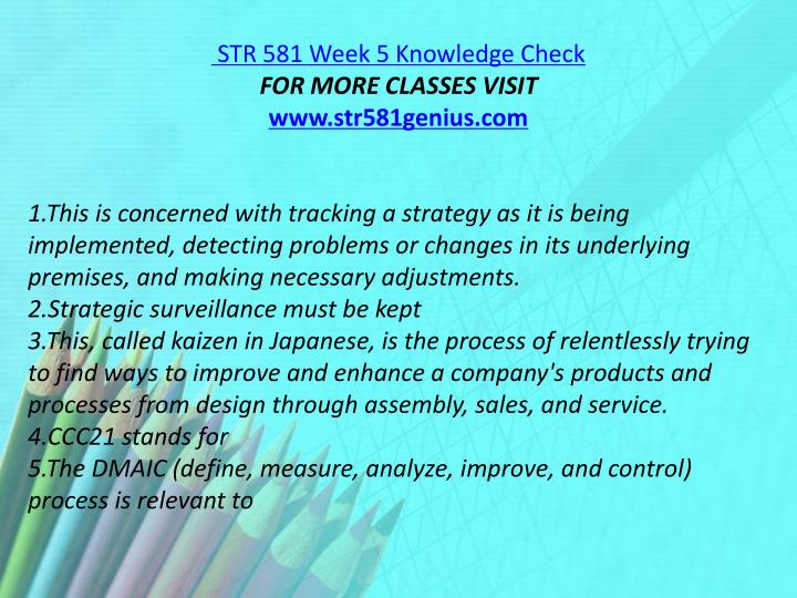 STR 581 Week 5 Knowledge Check
