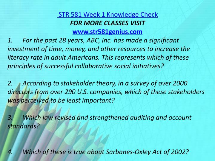 STR 581 Week 1 Knowledge Check