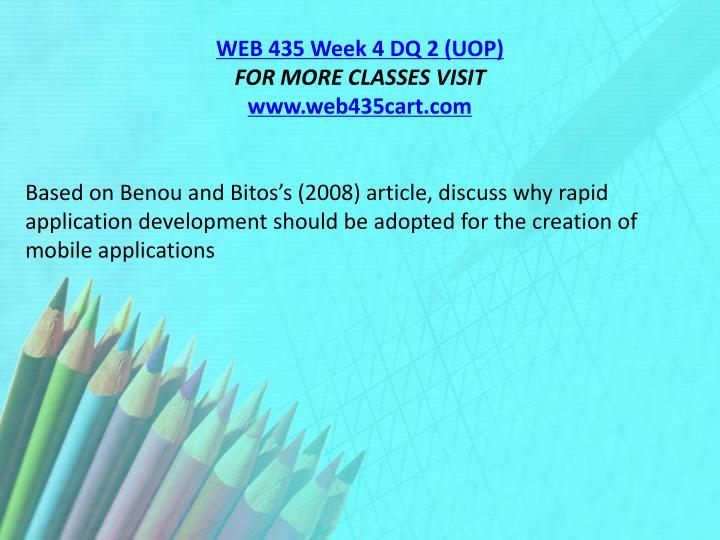 WEB 435 Week 4 DQ 2 (UOP)