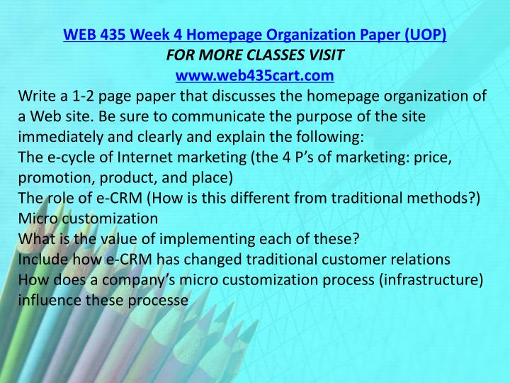 WEB 435 Week 4 Homepage Organization Paper (UOP)