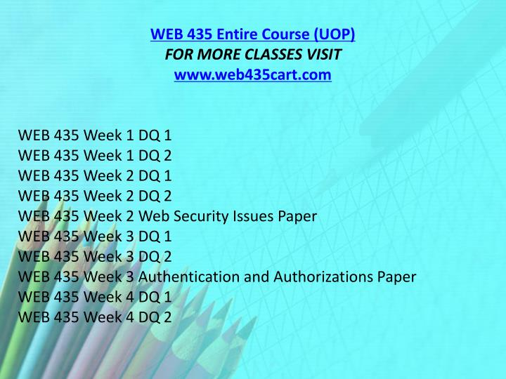 WEB 435 Entire Course (UOP)