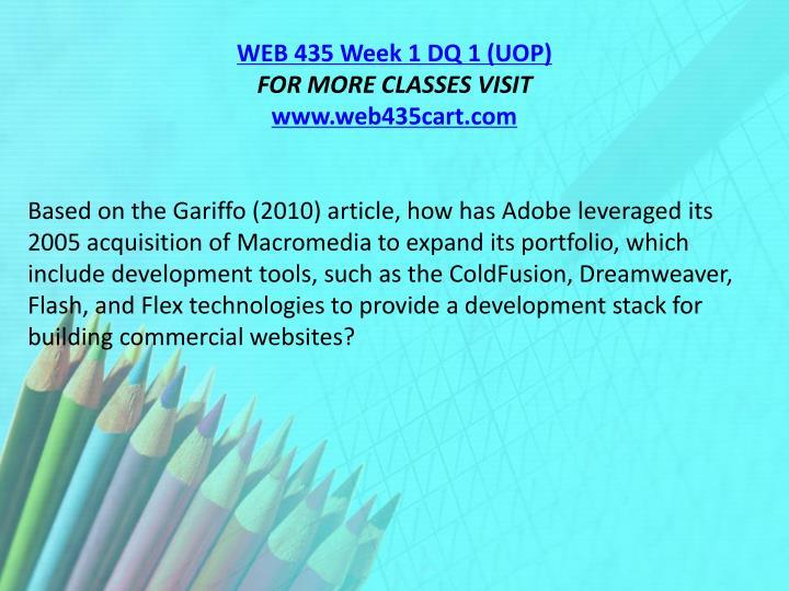 WEB 435 Week 1 DQ 1 (UOP)