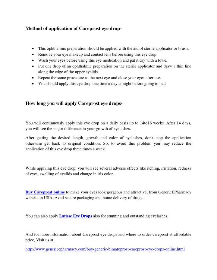 Method of application of Careprost eye drop-