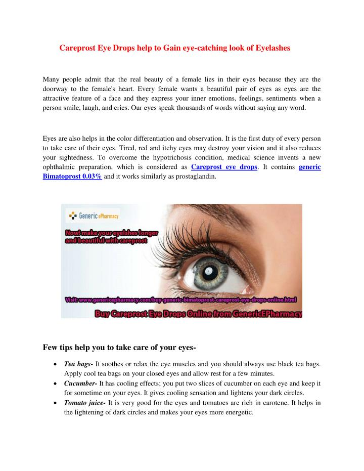 Careprost Eye Drops help to Gain eye-catching look of Eyelashes