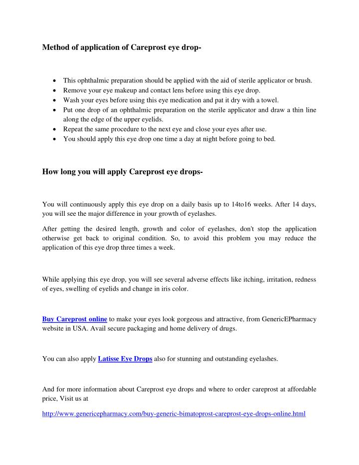 Method of application of Careprost eye drop-