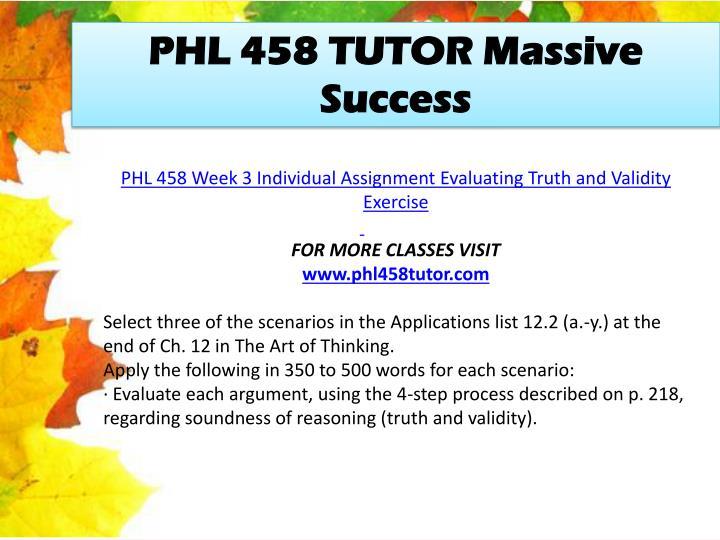 PHL 458 TUTOR Massive Success