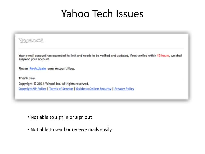Yahoo tech issues
