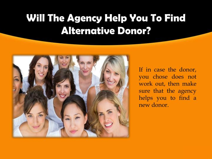 Will The Agency Help You To Find Alternative Donor?