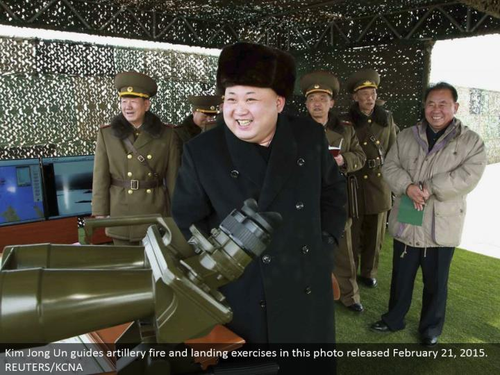 Kim Jong Un guides mounted guns shoot and landing practices in this photograph discharged February 21, 2015. REUTERS/KCNA