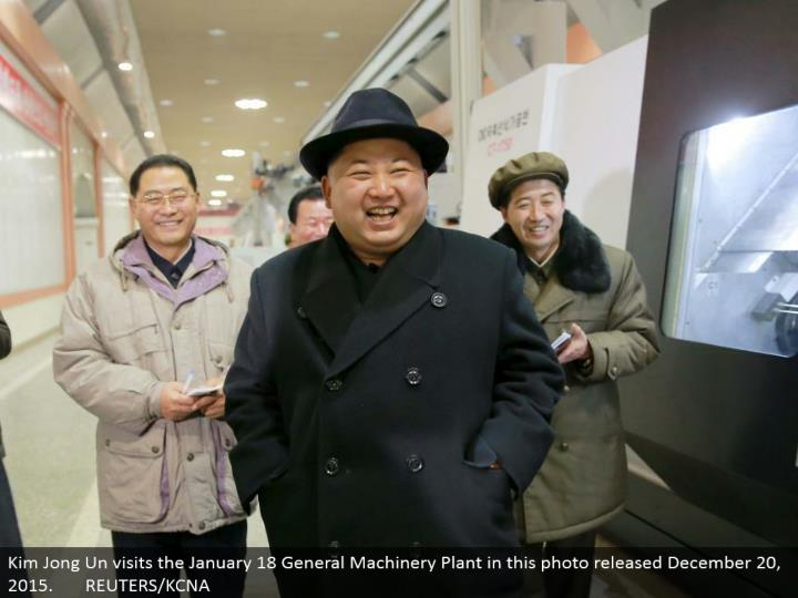 Kim Jong Un visits the January 18 General Machinery Plant in this photograph discharged December 20, 2015. REUTERS/KCNA