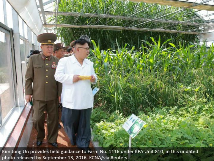 Kim Jong Un gives field direction to Farm No. 1116 under KPA Unit 810, in this undated photograph discharged by September 13, 2016. KCNA/by means of Reuters