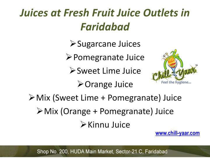 Juices at fresh fruit juice outlets in faridabad