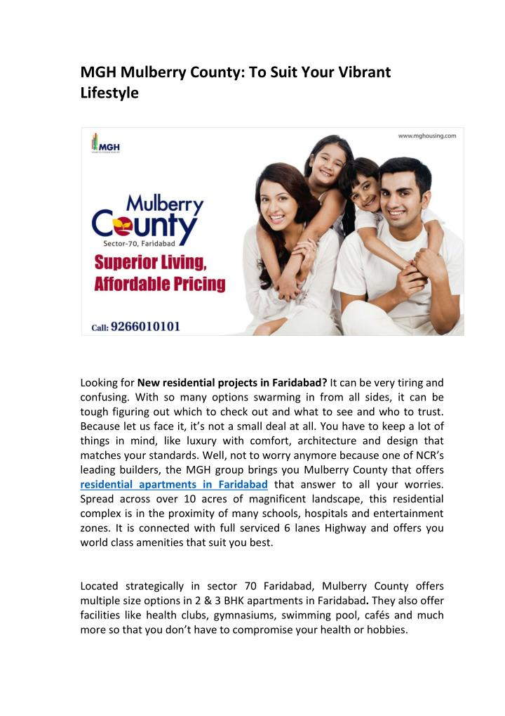 MGH Mulberry County: To Suit Your Vibrant