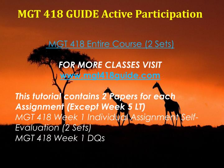 MGT 418 GUIDE Active Participation