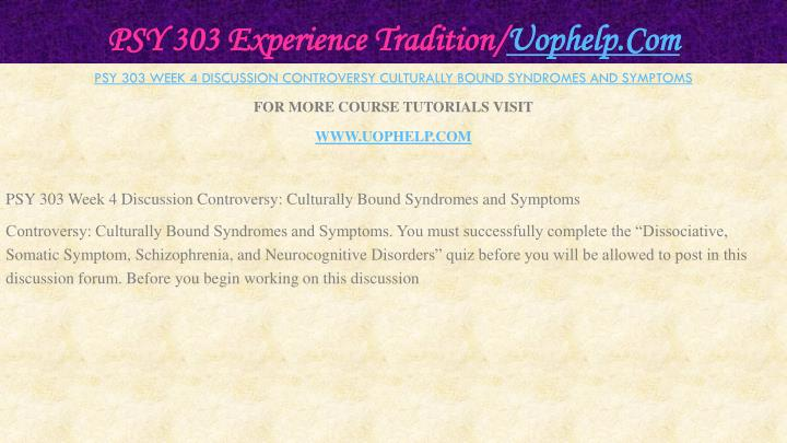 PSY 303 Experience Tradition/